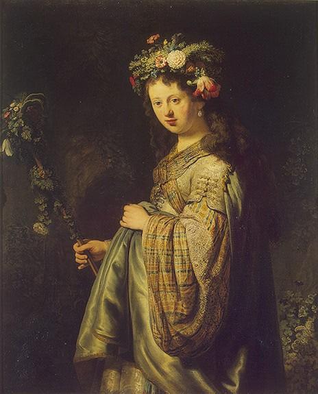 Saskia dresses as Flora, Rembrandt van Rijn